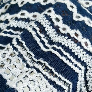 BCBGMaxAzria Tops - BCBGMAXAZRIA Blue/White Lace Eyelet Blouse